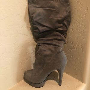 Like new grey suede Bailey knee-high boots
